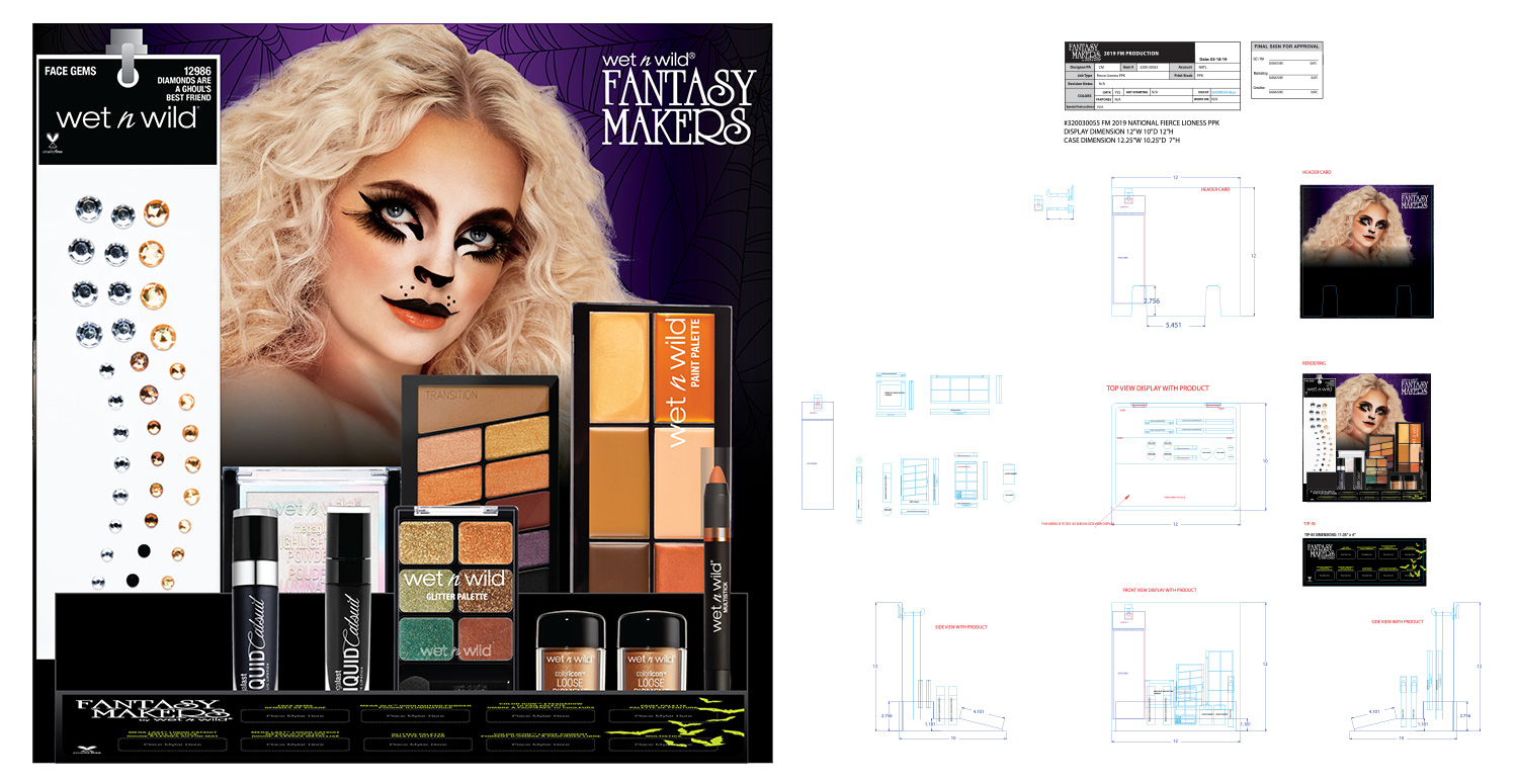 National Fierce Lioness Prepack Countertop Display Render and Production